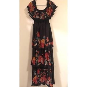 Champagne & Strawberry tiered maxi dress NWT